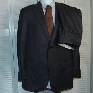 Recent Zegna Milmil Navy Pinstripe Full Suit, 40R